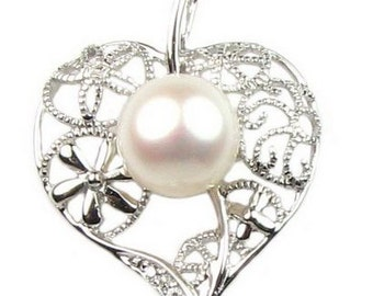 White pearl pendant, leaf pearl neckalce,  freshwater pearl 925 sterling silver pendant chain, bridal pearl jewelry, 8-9mm, F2450-WP