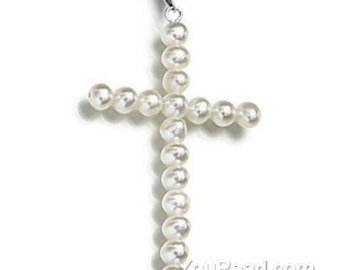White pearls pendant, pearl cross pendant, freshwater pearl pendant, sterling 925 silver, genuine pearl pendant necklace, 4-5mm, F2550-WP