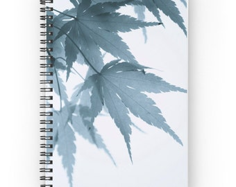Japanese Maple Leaves Spiral Notebook ~ Botanical Journal ~ Garden Notebook ~ Blue Gray Journal ~ Minimalist Notepad, Gift for Writer, Diary