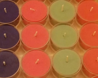 Rainbow Colored Beeswax Tealights | 12 Pack - Free Shipping