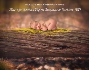 MOSS Log in the Woods Newborn Digital Backdrop/Background