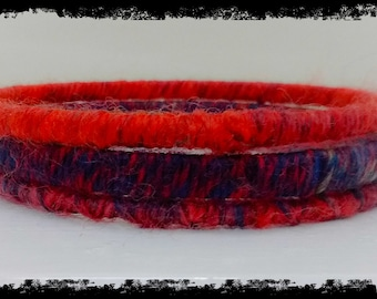 Pure wool bangles - russets and purples