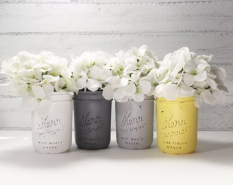 4- Hand Painted Pint Mason Jar Flower Vases-Emily Collection-Country Decor-Cottage Chic-Shabby Chic-French Chic