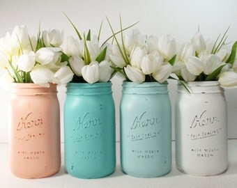 4- Hand Painted Quart Wide Mouth Mason Jar Flower Vases-Chrissy Collection-Country Decor-Cottage Chic-Shabby Chic-French Chic