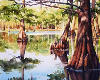 "Cypress trees in Louisiana swamp lake 12x16"" giclee print of watercolor painting"