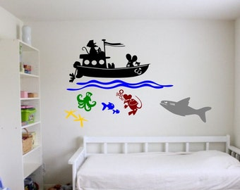 Wall Mouse mice Scuba Divers shark ocean fishing diving sticker set decal kids decorative vinyl decor decoration cheap Fish Water Sports