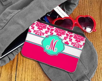 Monogramed Coin Purse / Change Purse / Card Holder Pink and Teal
