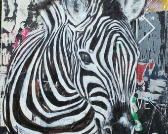 Painting on canvas: Zebra head, acrylic on torn poster, square format 50cmx50cm