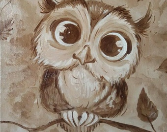 Owl Original Oil Painting 25 * 25 cm