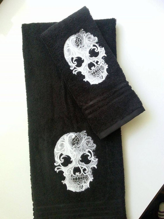 Ghost Skull Embroidered Bath Towel Set