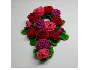 Cute Ponytail Holder Scrunchie Handmade Rose Flower Crochet Made InJapan  for party, wedding, gift