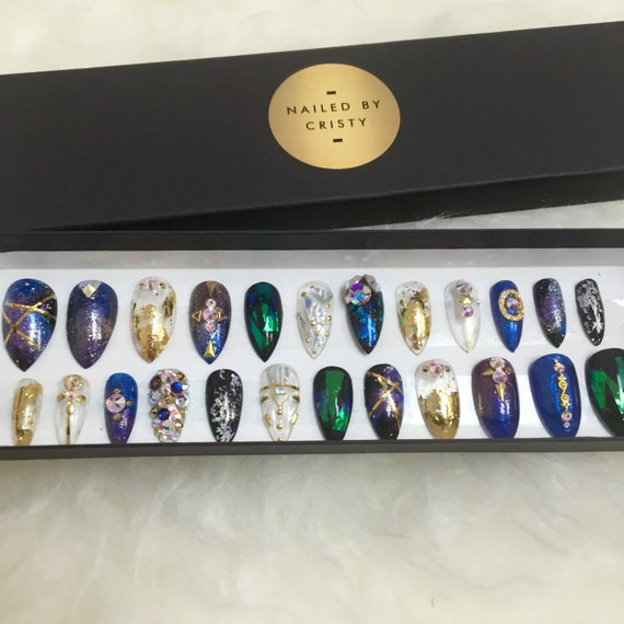 Handpainted Galaxy Nails Glass Nails Stiletto by ...