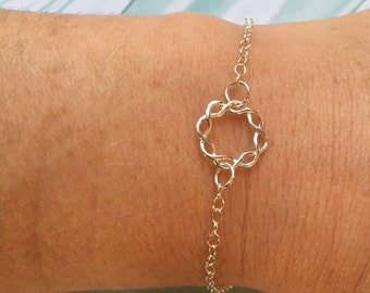 "SALE-Dainty Silver braided circle bracelet-adjustable 7.5"" to 9.5"" long-chain bracelet"