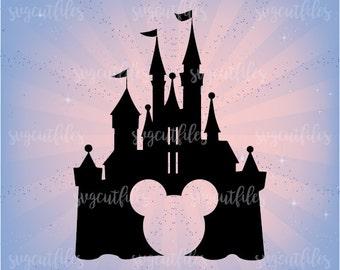 SVG Disney Castle - Princess Castle Svg Monogram Frame Cut Files  - Cricut, Silhouette Studio cutting file, Instant Download