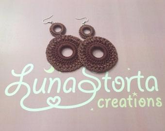 Purple gradation crochet earrings