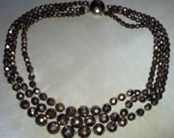 Necklace vintage 60s glass copper beads