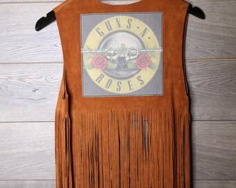 Guns and Roses leather fringe vest
