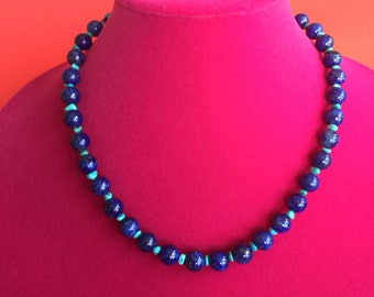 Lappis Lazuli * Sleeping Beauty Turquoise * Necklace * Sterling Silver chain & clasp *  Adjustable length