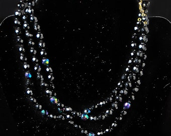 Black Multi- strand statement necklace