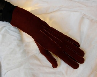 VINTAGE 1940'S Burnt Umber Suede Gloves