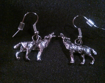 Howling Wolf Dangle Earrings
