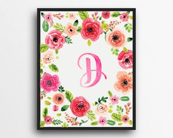 Monogram Letter D Print | Floral Wreath Monogram | Initial Print | Watercolor Floral Print | Digital Download