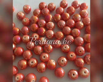 100 pieces - Glassbeads 8 mm