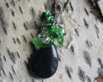 Grape necklace - chain me Muranoblätter - Onyx