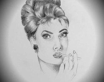 Audrey Hepburn Drawing Print