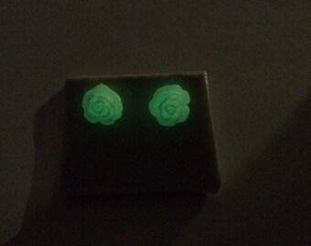 Small Rose Stud Earrings - Glow in the Dark!
