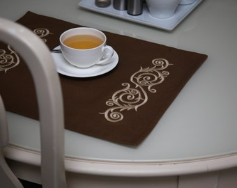 Embroidered Placemats, Double fabric Placemats Placemats with Embroidery, Ornament Placemat Cotton Canvas Sets Rectangle Place Mat