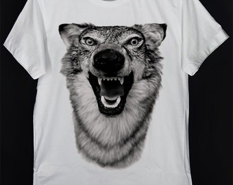 Rapper Band Gray Wolf Grey Wolf Canis lupus Timber Wolf Western Wolf Aggression Snarl White Crew Neck Unisex T-Shirt S-XXL