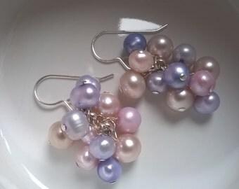 Handmade Sterling Silver Freshwater Pearl Cluster Earrings