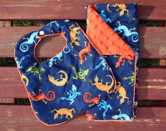 Gecko bib and burpcloth / newborn boy / blue & orange / soft minky