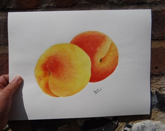 Peaches - Original Watercolour Painting, Fruit Watercolour Painting