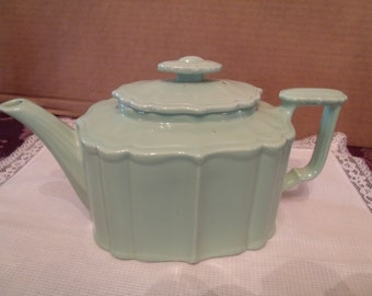 Vintage aqua Green Porcelain Tea Pot