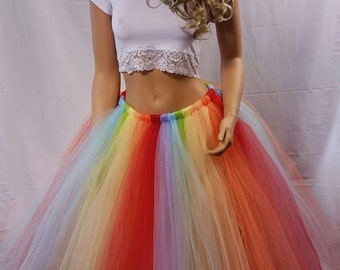 Free Shipping!! Adult Rainbow Baby Tulle Skirt: You Choose the Length