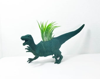 Any Color Large Plantasaurus / Velociraptor  Dinosaur Planter with Air Plant, Air Plant Holder, Dino Planter, Low Shipping, Great Gifts!