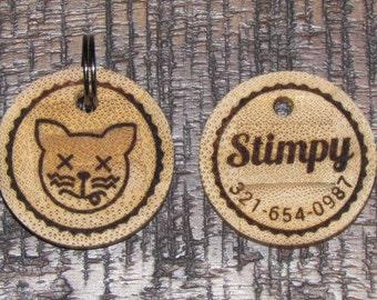 Personalised Cat Bamboo Tag - Cat Tag - Pet Tag