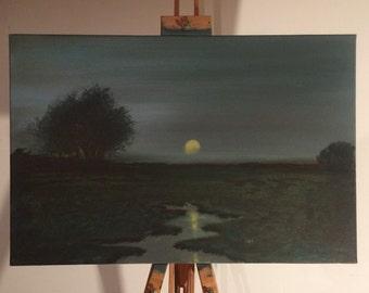 tonal painting, panel painting, night swamp painting, swamp panting, swamp, night painting, landscape tonal painting, oil painting, tonalism
