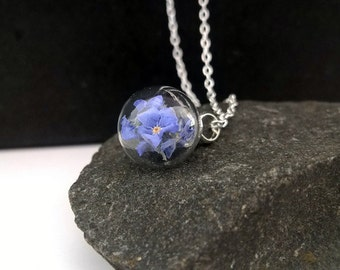Real forget me not , 925 Sterling Silver necklace, Natur necklace,flower necklace,eco friendly,