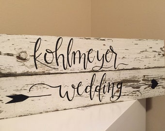 Custom Last Name Wedding - Reclaimed Barn Wood Sign