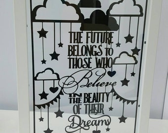 The Future Belongs to Those Who Believe in the Beauty of their Dreams - Eleanor Roosevelt Quote - Paper Cut in Floating Frame