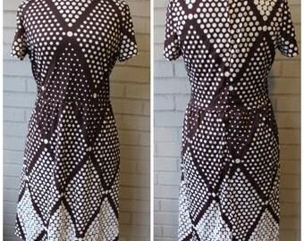 SALE - Vintage 1960s Polka Dot Dress - Spotty Dotty Brown Mod 60's Dress -