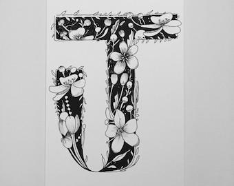 Floral Letter J