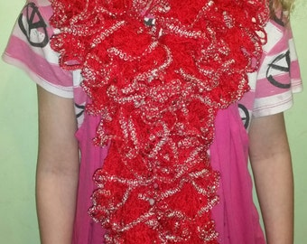 Frilly Red and Silver Ruffled Scarf