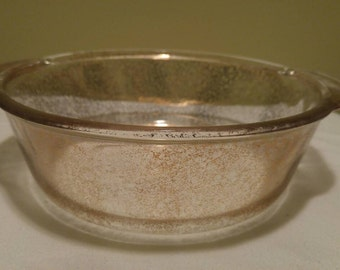 Vintage Fire King Gold Glitter Glass Casserole Baking Dish Bowl with Handles OvenWare Bakeware 448