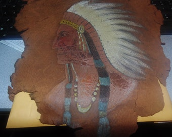 vintage native american cheif painted on leather