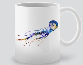 Watercolor Jellyfish  Mug  - Coffee Mug - Tea Mug - Colorful Printed Ceramic Mug