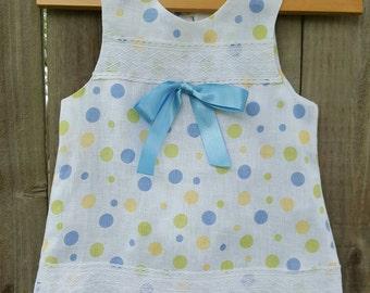 Handmade girl dress, 100% linen, size 2, size 4, size 8